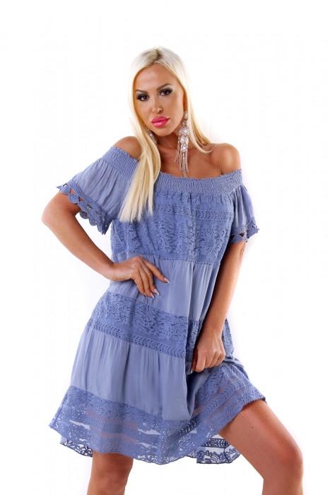 Carmenkleid Mit Spitze  Blau One Size  Néamoda