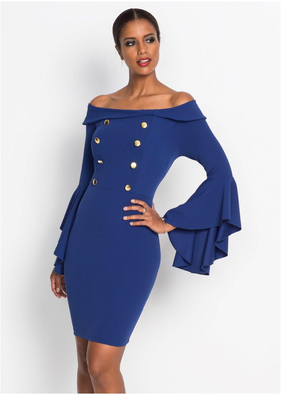 Carmenkleid Mitternachtsblau  Damen  Bodyflirt Boutique