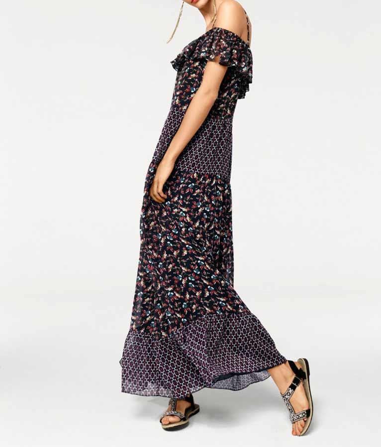 Carmenmaxikleid Schwarzbunt  Kleider  Outlet Modeshop