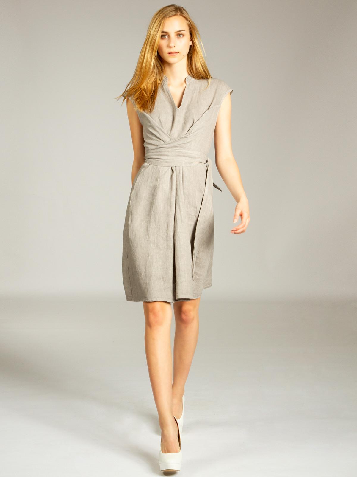Casar Skl016 Damen Sommer Kleid Leinenkleid Knielang