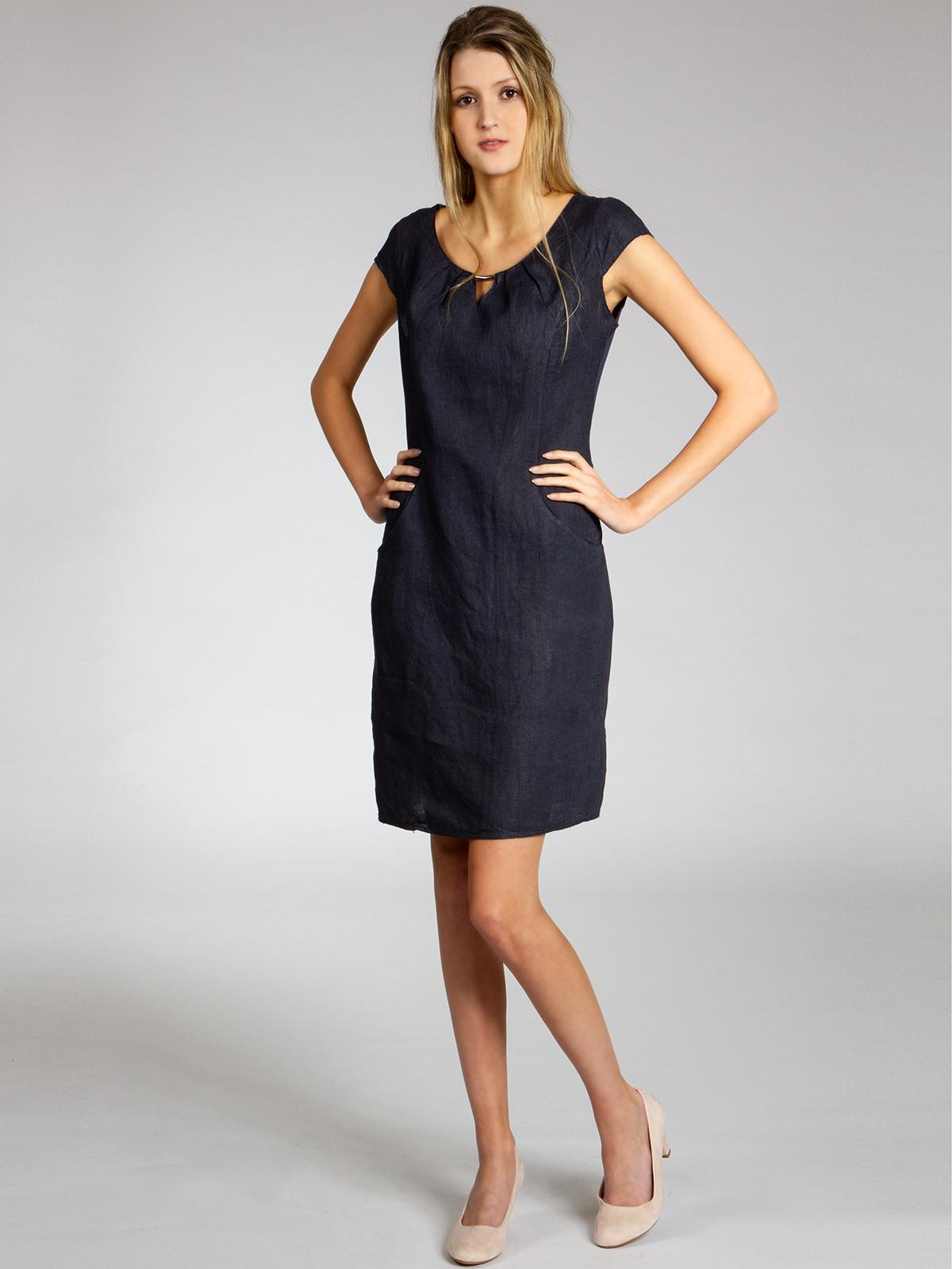 Caspar Skl020 Damen Sommer Kleid Leinenkleid Knielang