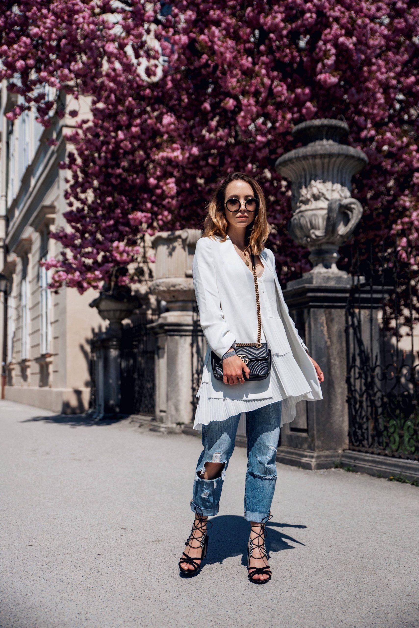 Casual Chic Style Outfit Mit Weißem Blazer Plissierter