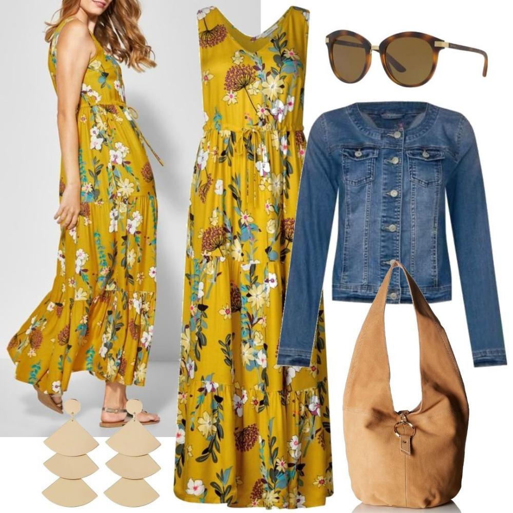 Cecil Flowerprint Maxi Kleid  Ceylon Yellow Für Damen