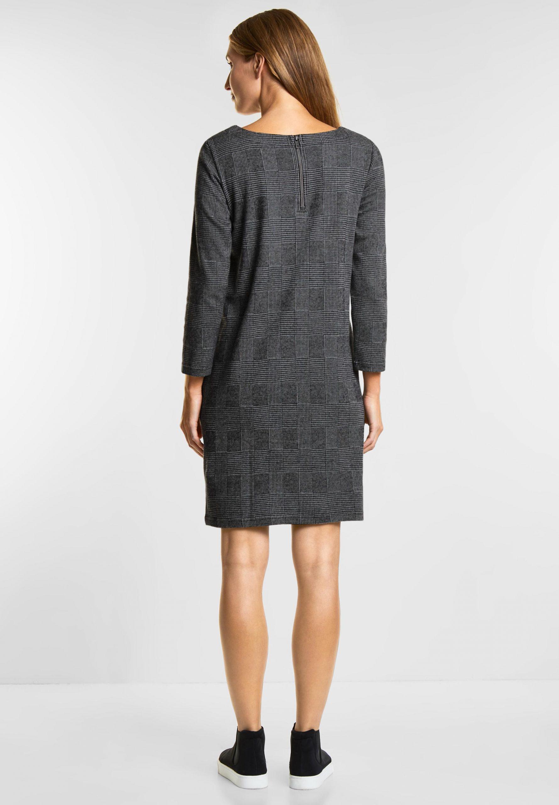 Cecil  Jersey Karo Kleid In Black Reduziert Im Sale