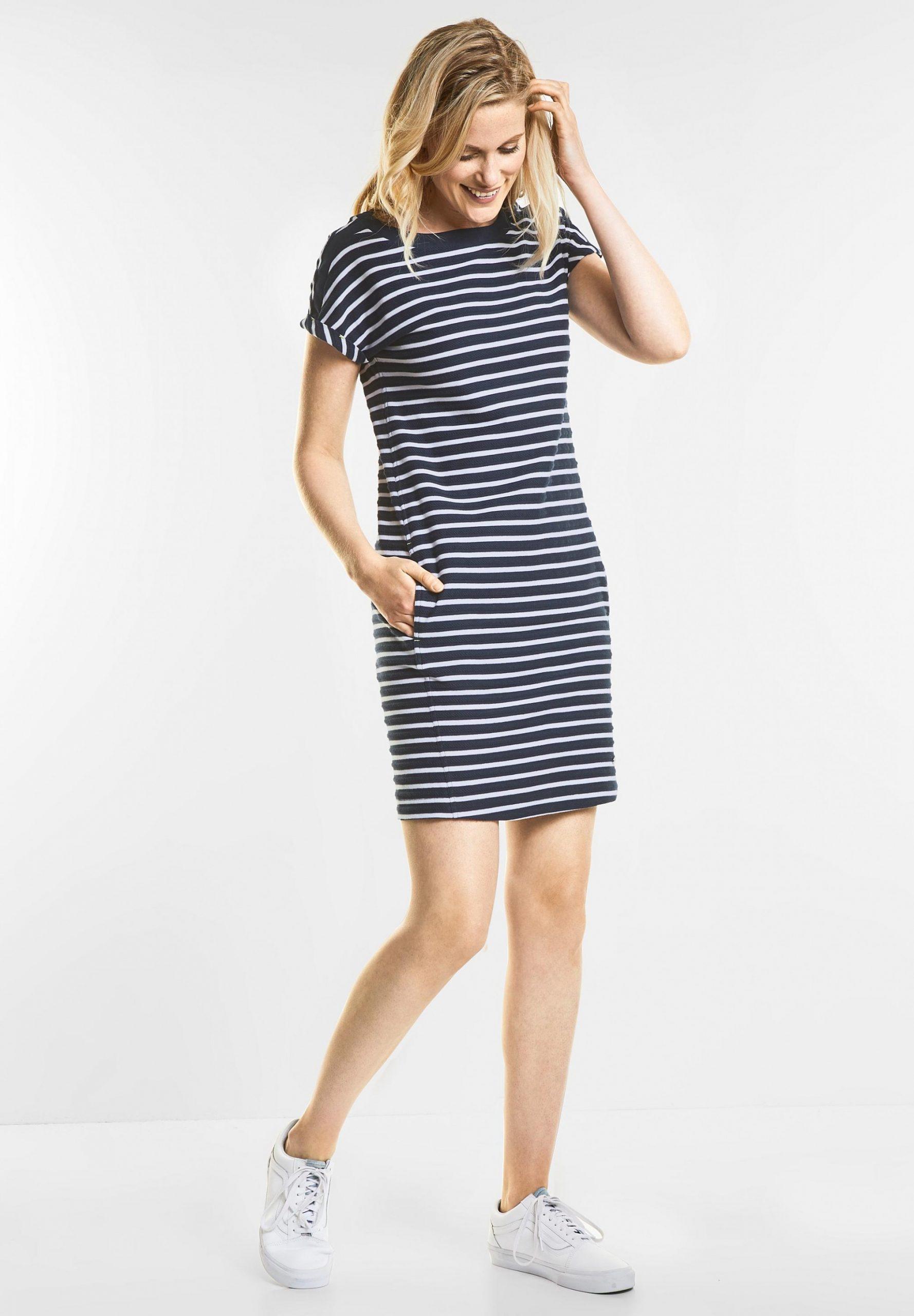 Cecil Lässiges Streifen Kleid In Deep Blue Kleid Mit