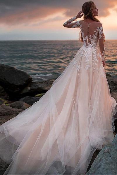 Champagner Tüll Brautkleid Mit Illusion Lace Long Sleeves