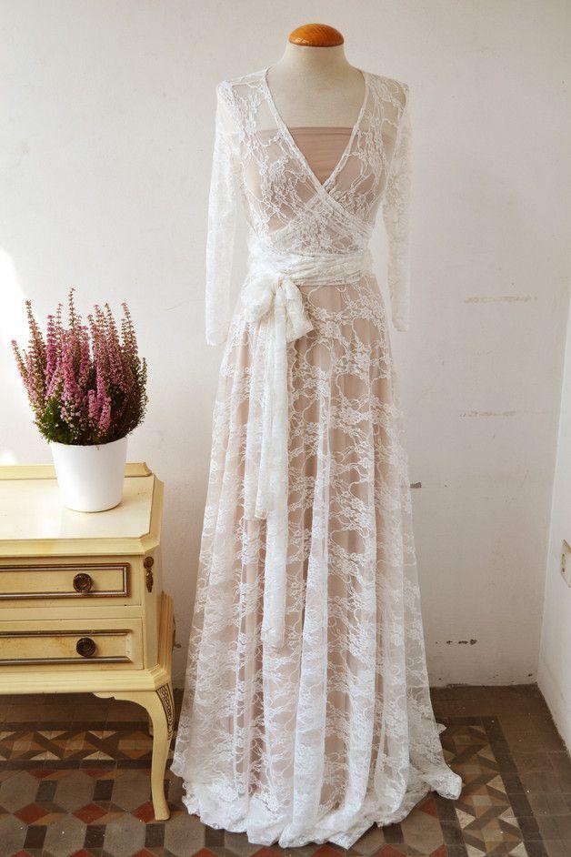 Champagner Und Weiss Spitze Hochzeitskleid Lange Ärmel