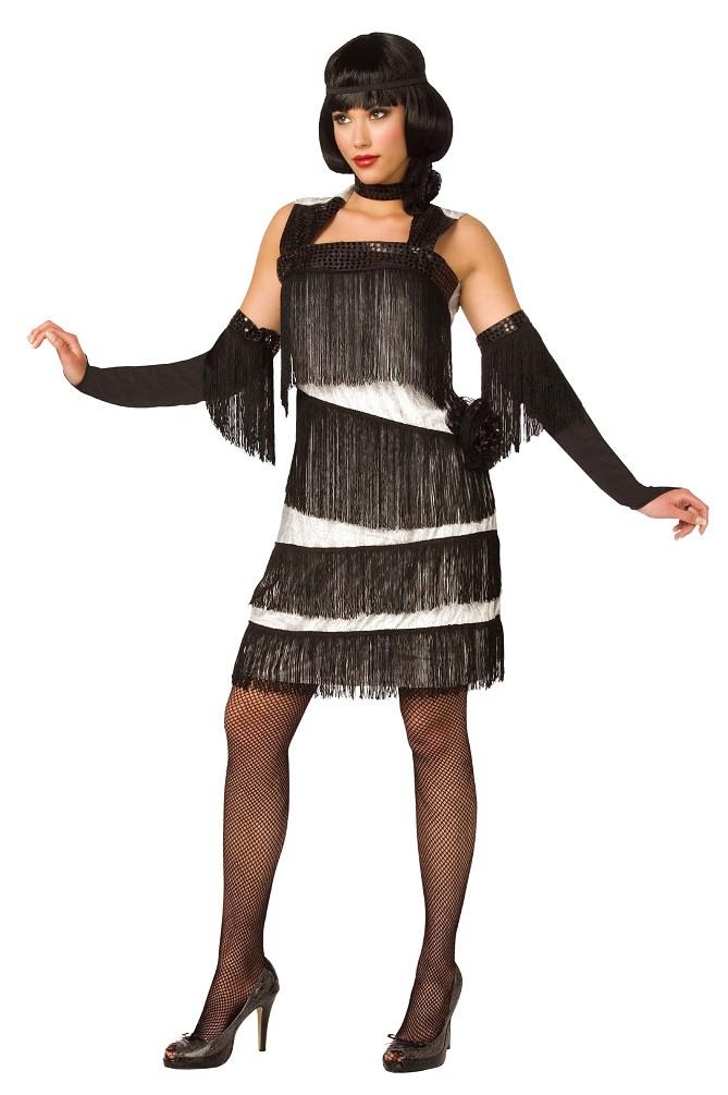 Charleston Kleid Damen Kostüm 20Er Jahre Weiß Schwarz