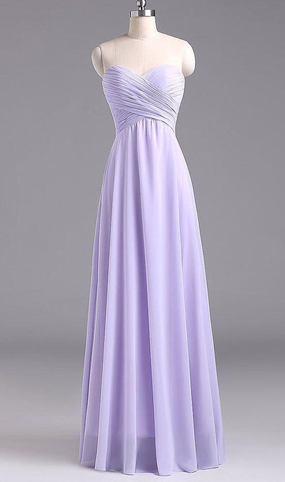 Charmante Lavendel Lange Trägerlosen Schatz Hochzeit