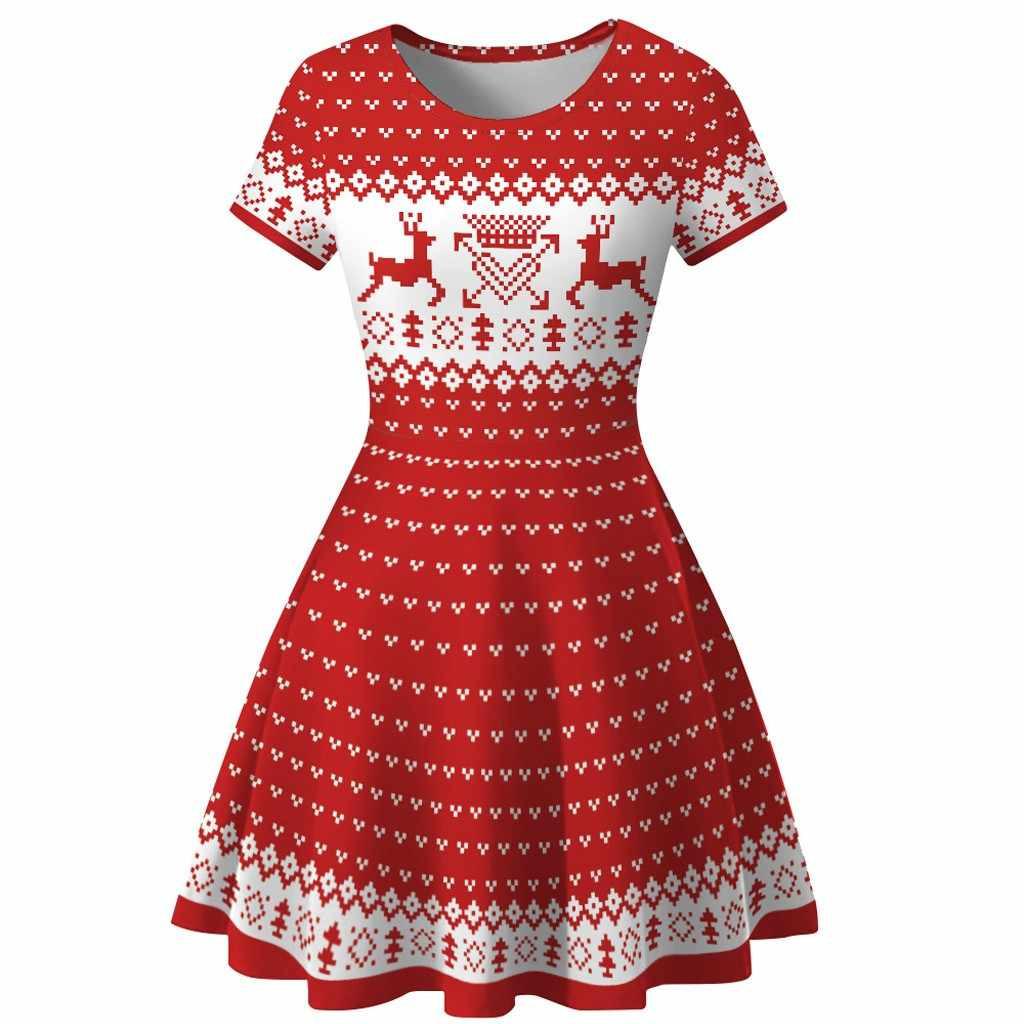 Charming Kleid Frauen Winter Schneemann Weihnachten Rot