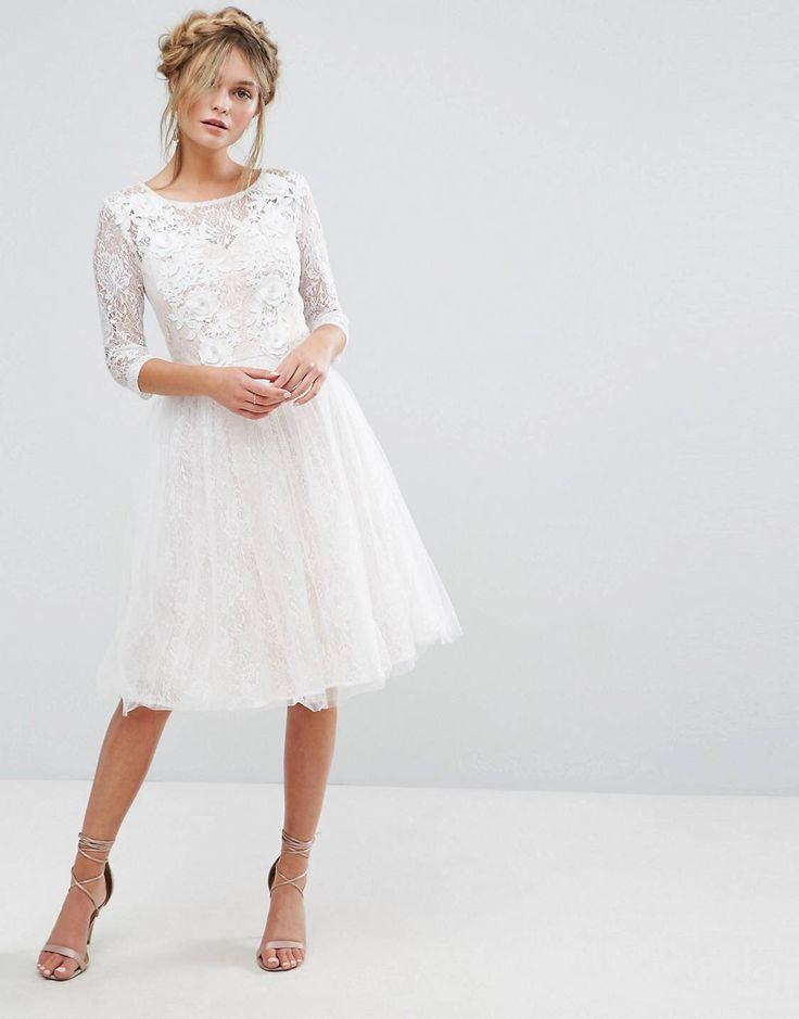 Chi Chi London  Bridal  Midikleid Mit Spitze Und 3D