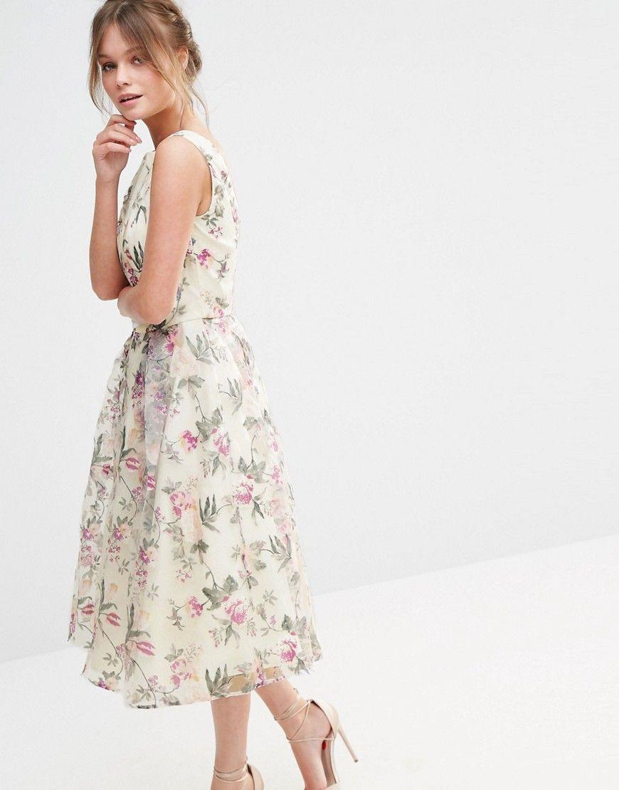 Chi Chi London Decadent Satin Midi Dress In Allover Floral