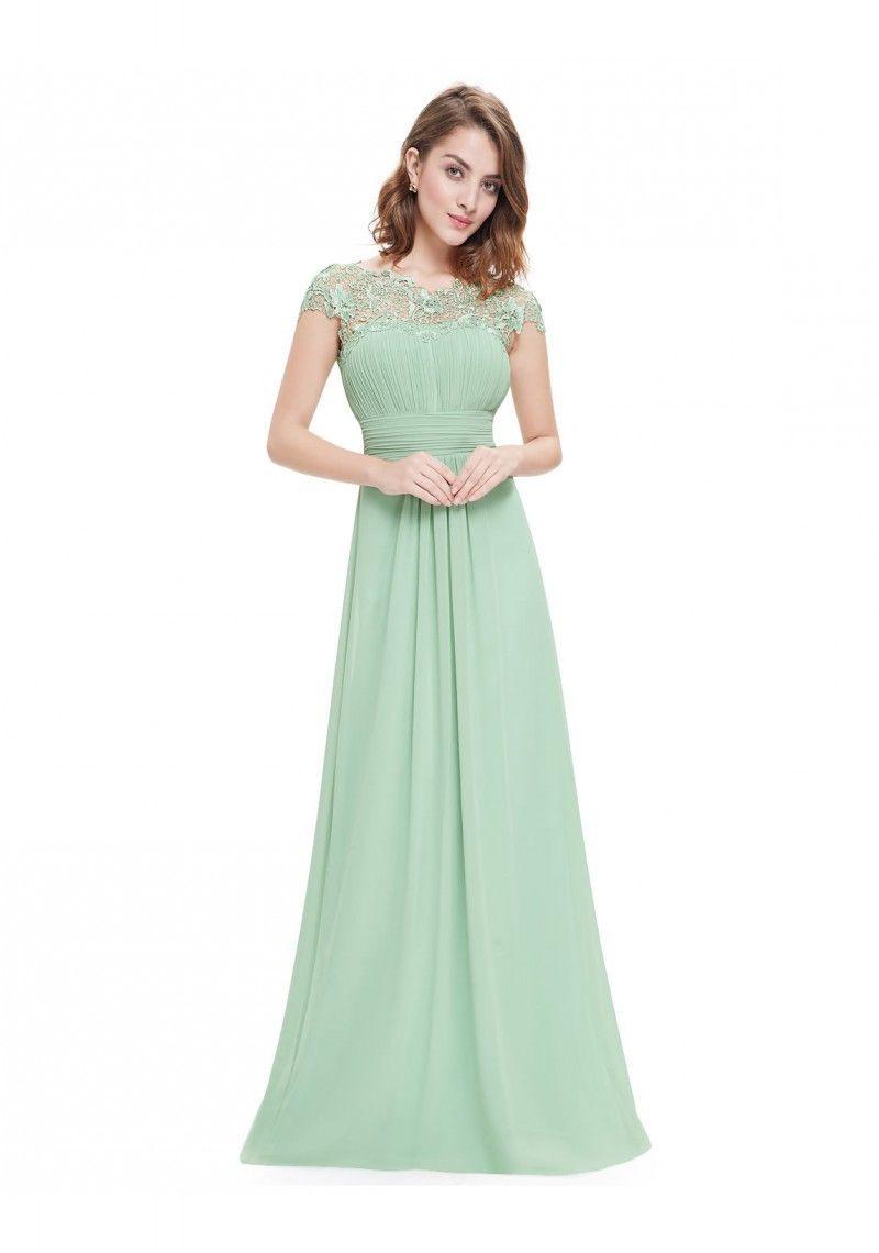 Chiffon Abendkleid Lang Mit Spitze In Mint Grün  Bei Vip