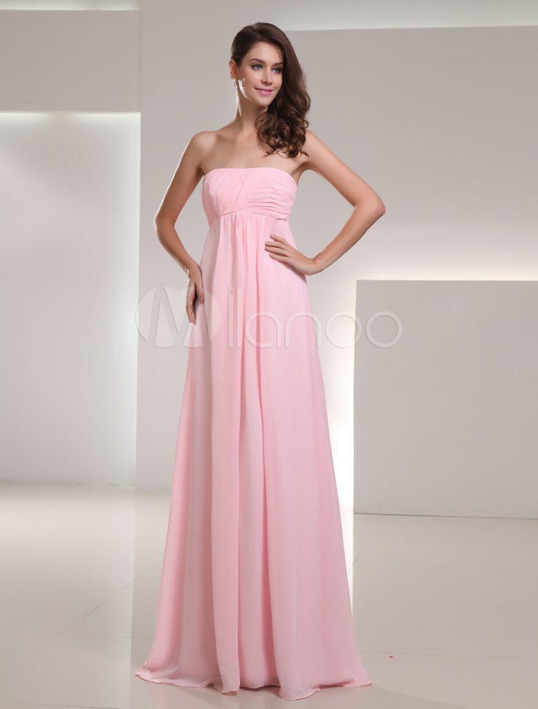 Chiffon Empirekleid Für Hochzeit Mit Trägerlosem Design