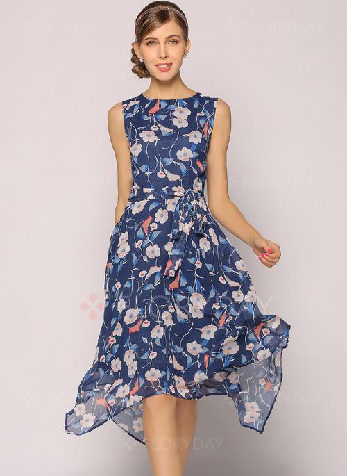 Chiffon Floral Sleeveless Kneelength Aline Dress  Floryday