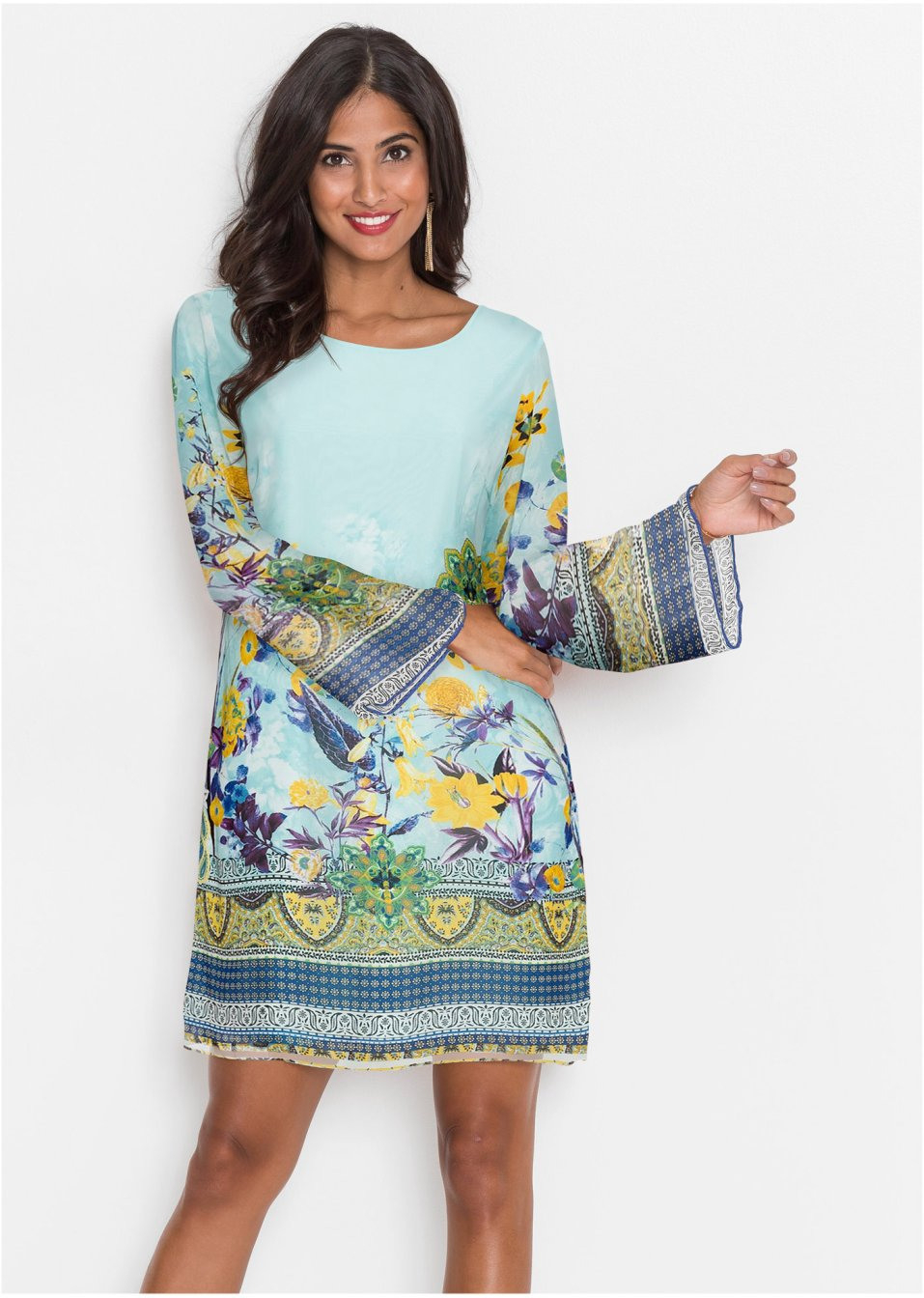 Chiffon Kleid Blau Gemustert  Bodyflirt Boutique Online