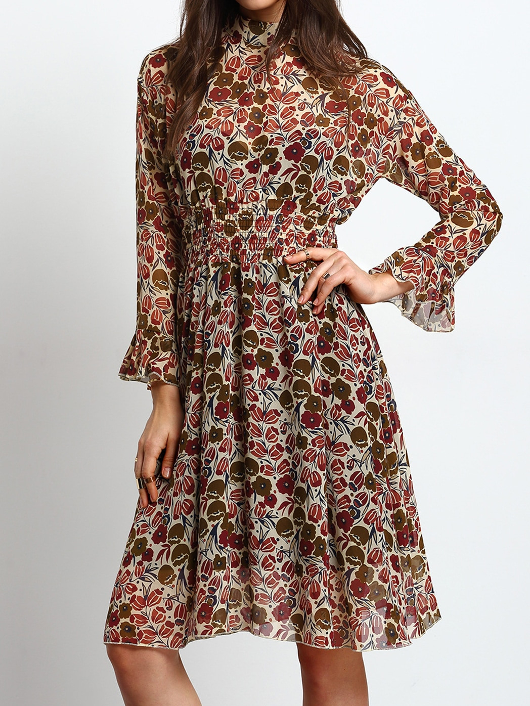 Chiffon Kleid Mit Blumenmuster  Bunt  Shein
