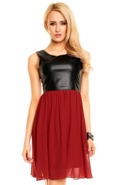 Chiffon Kleid Mit Lederimitat Minikleid Leder Optik