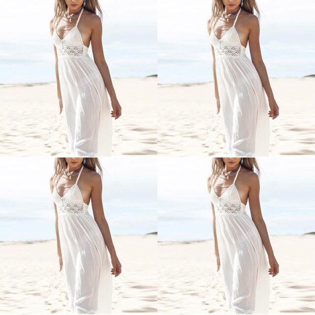 Chiffon Strandkleid Weiß Schulterfrei Bodenlangen Spitze