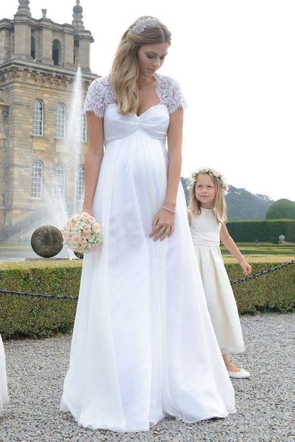 Chiffon Umstandsbrautkleid Mit Spitze Lang / Hochzeit Mit