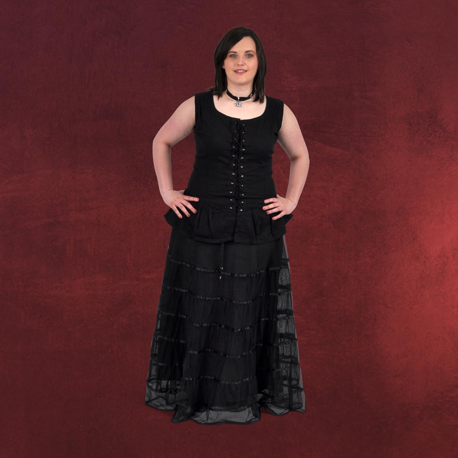 Chiffonrock Schw M Satin Unterrock Schwarze Mode Gothic