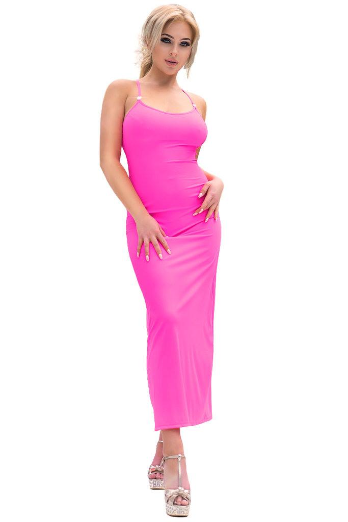 Chilirose Langes Kleid Cr4379 Hot Pink  Dessous