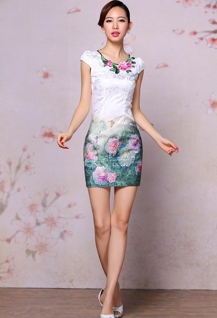 Chinesische China Kleider Qipao Schmetterling