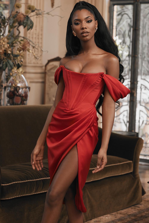 Clothing  Bodycon Dresses  'Loretta' Red Satin Off