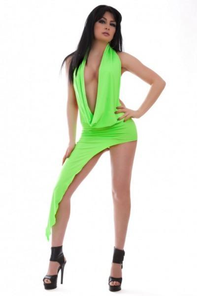 Clubwear Gogo Neckholder Kleid Mit Asymmetrische Saum
