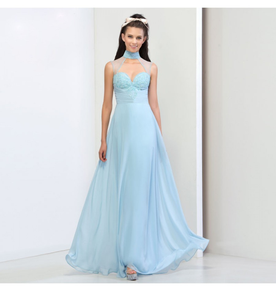 Cocktailkleid Hochgeschlossen Hellblau  Abendkleid