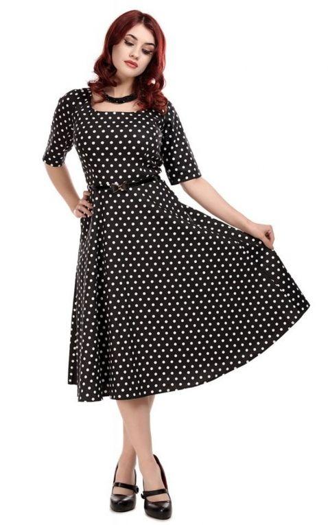 Collectif Amber Polka Dot Swing Dress  Spitzenkleid Mit