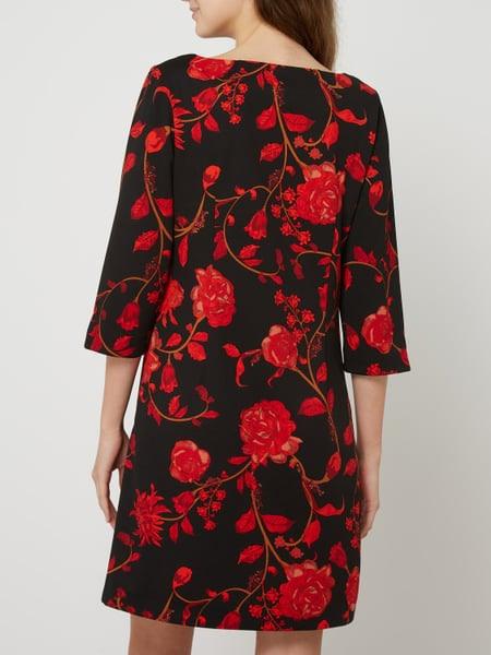 Comma Kleid Aus Krepp Mit Floralem Muster In Grau