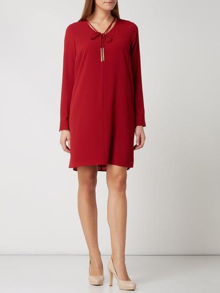 Comma Kleid Aus Krepp Mit Zierquasten In Rot Online Kaufen