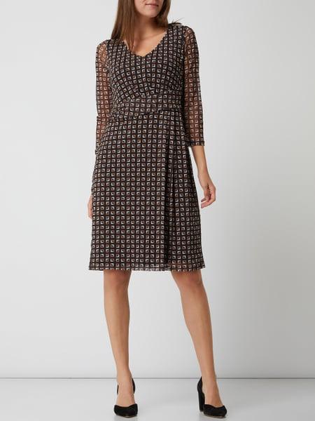Comma Kleid Aus Mesh In Grau / Schwarz Online Kaufen