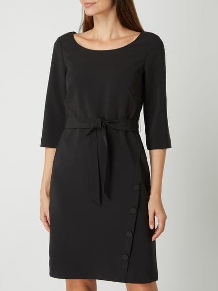 Comma Kleid Mit Taillengürtel In Grau / Schwarz Online