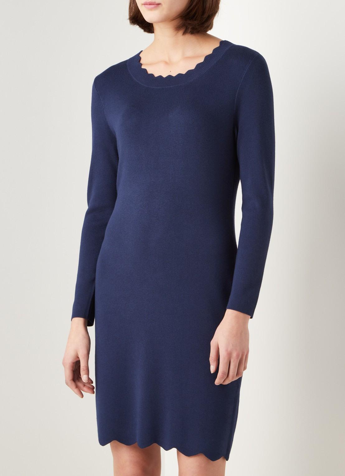 Comma Pulloverkleid Mit Überbackenem Saum • Dunkelblau