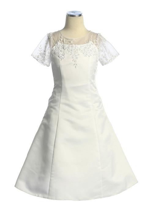 Confirmation Dress With Floral Applique