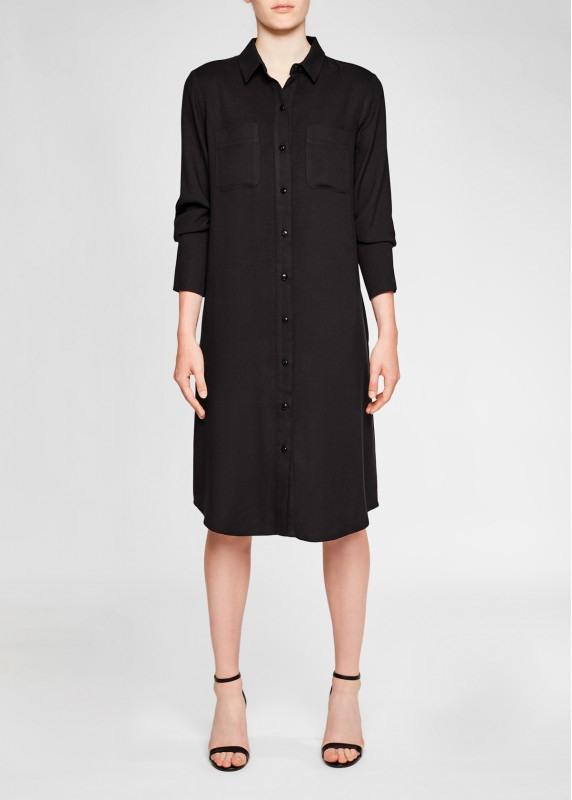 Copenhagen Black Knielanges Hemdblusenkleid In Schwarz