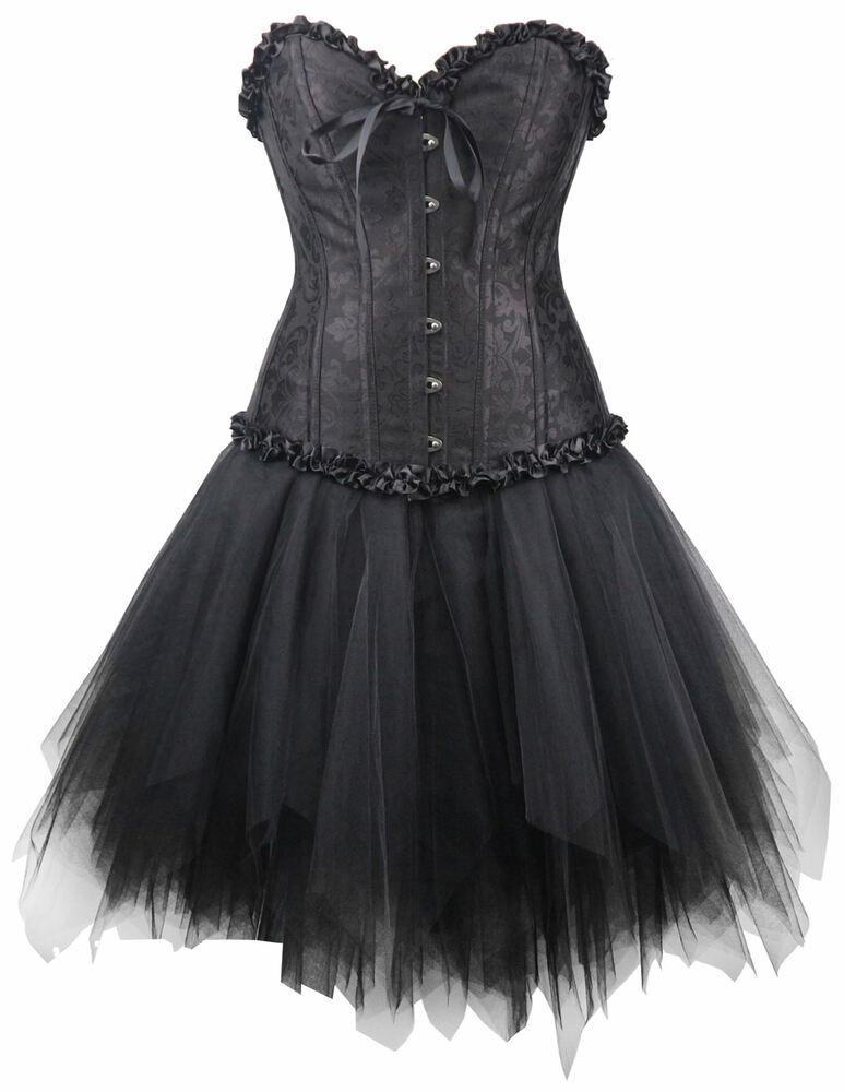Corsagenkleid Corsage  Mini Rock Kleid Steampunk Schwarz