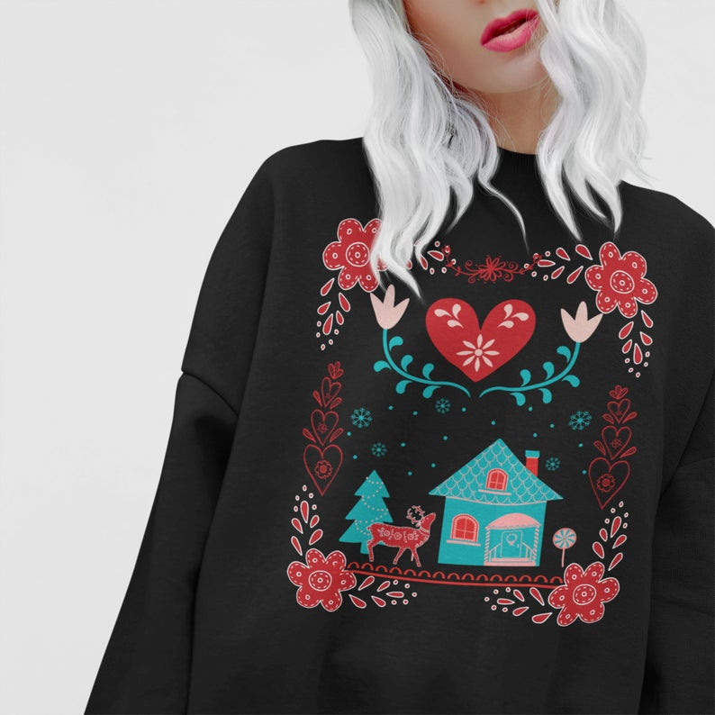 Cottagecore Kleidung Hygge Weihnachten Pullover