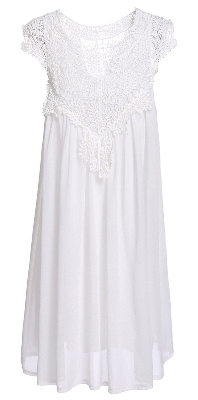 Cravog Sommerkleid Damen Elegantes Spitzen Kleid
