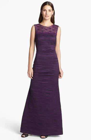 Crinkled Taffeta Gown Regular  Petite