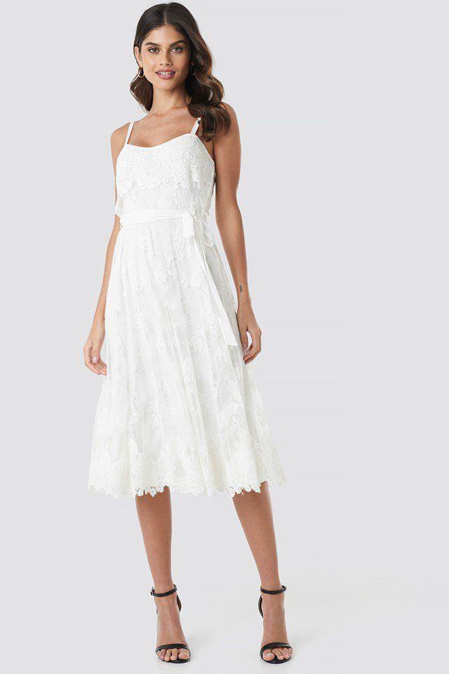 Crochet Detail Pleated Dress White  Nakd  Kurzes