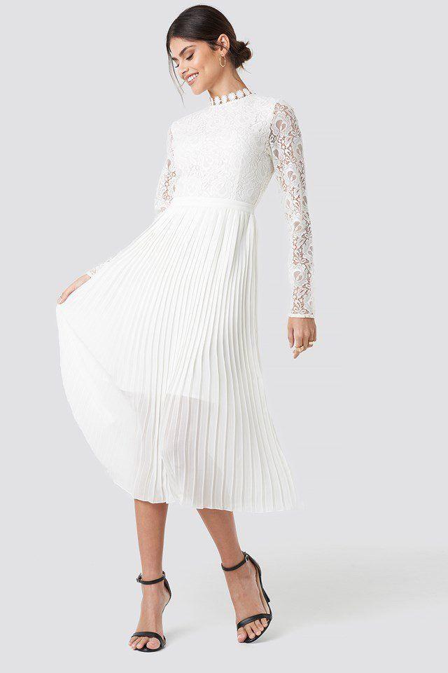 Crochet Detail Pleated Dress White  Nakd  Weißes