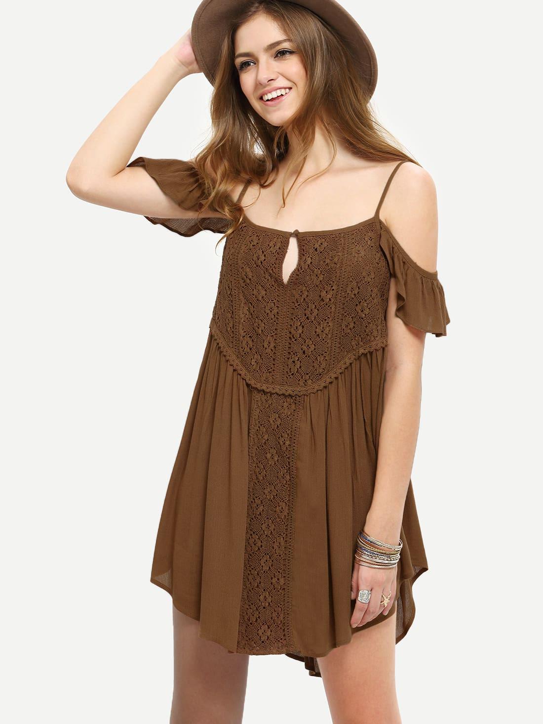 Crochet Lace Keyhole Front Unevenhem Dress Sheinsheinside