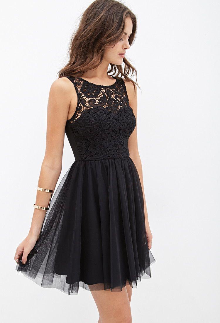 Crochet  Tulle Dress  Dresses  2000138426  Forever 21