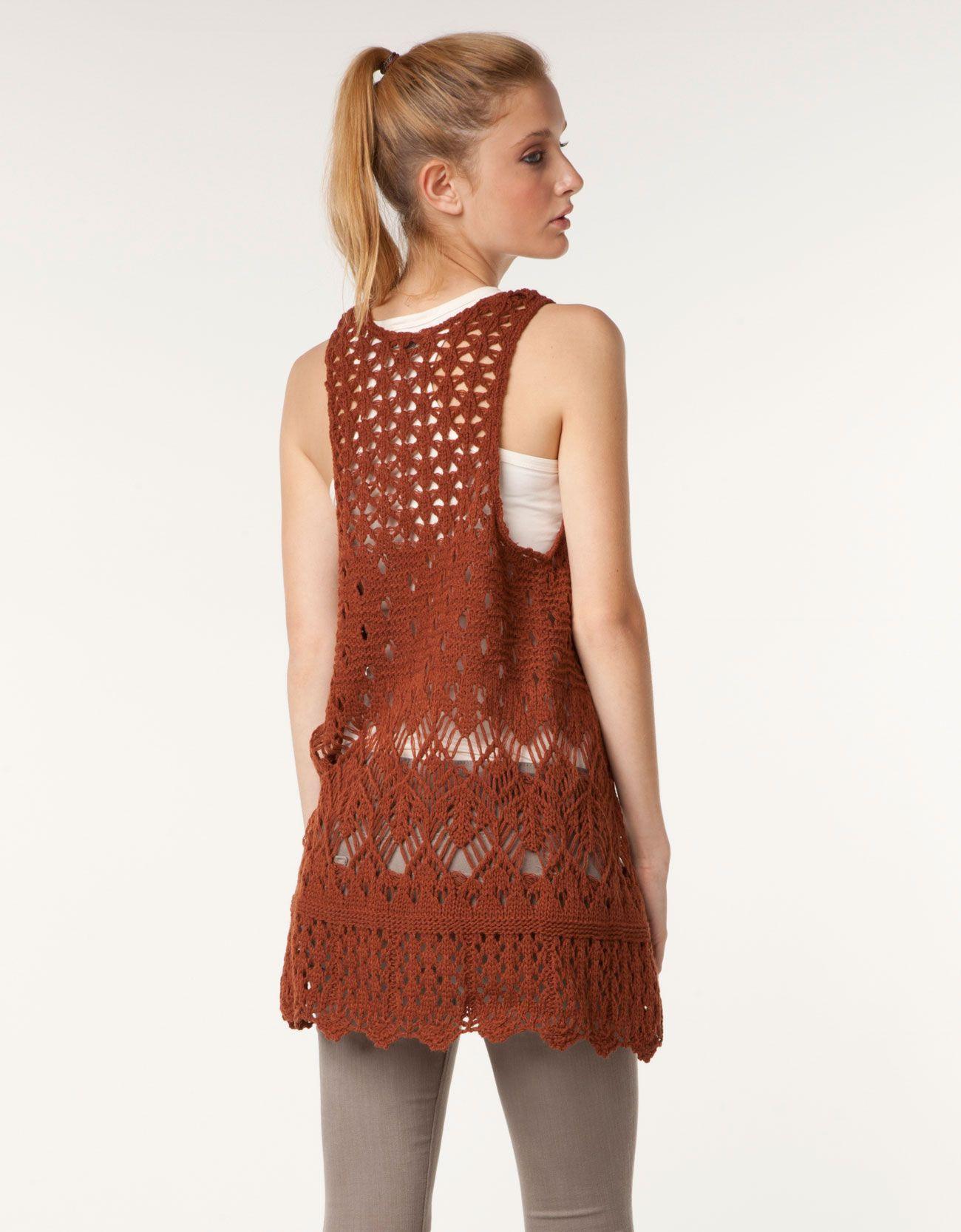 Crocheted Brown Bershka Jacket