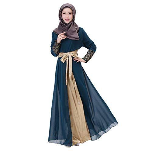 Cutude Muslimische Frauen Langes Maxikleid Dubai Patchwork