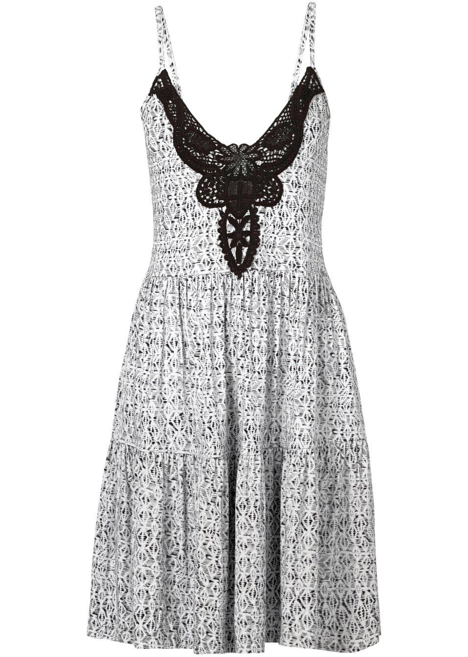Стильное Платье С Ажурным Принтом Украшенное Кружевом