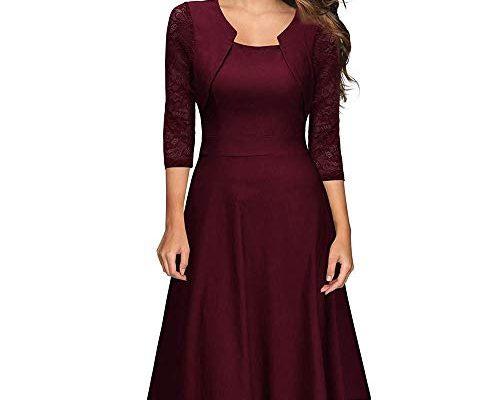 Damen Abendkleider Elegante Spitzenkleid Vintage Kleid 3/4
